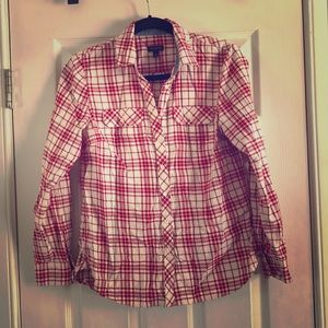Talbots red plaid shirt